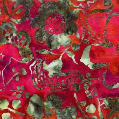 Hoffman Batiks Cardinal Red Green Flower