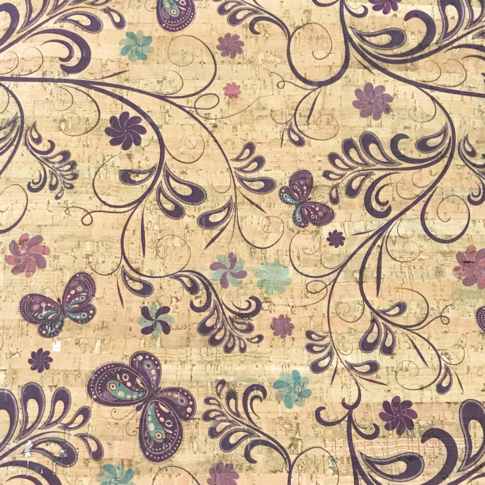 Butterfly Garden Cork Fabric