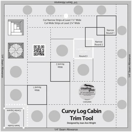 Creative Grids Curvy Log Cabin Trim Tool 8in Fin