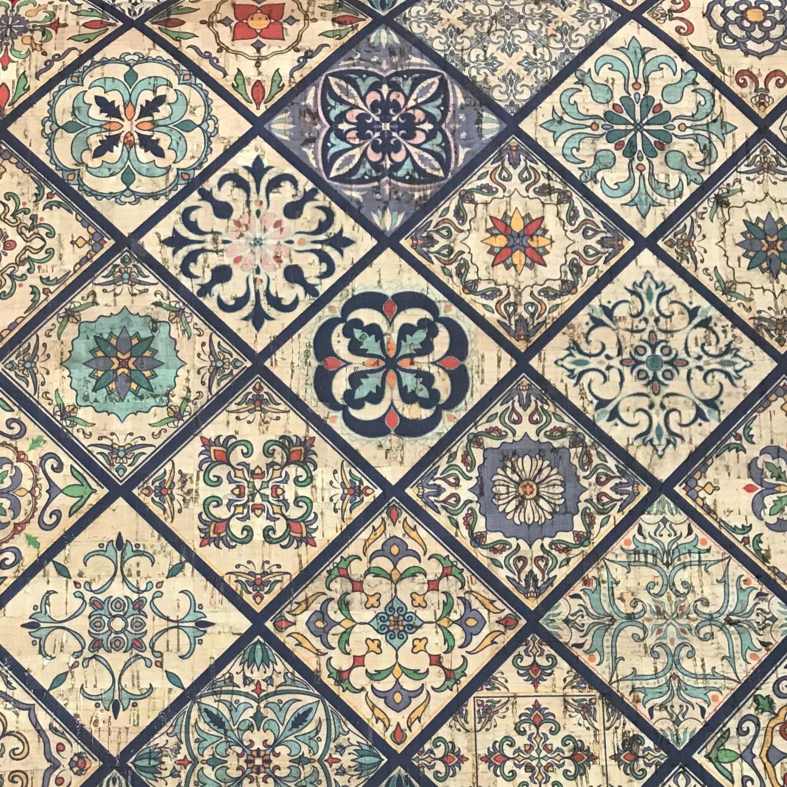 Valencia Tiles Cork Fabric