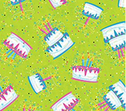Party On! by Quilting Treasures Green Birthday Cake