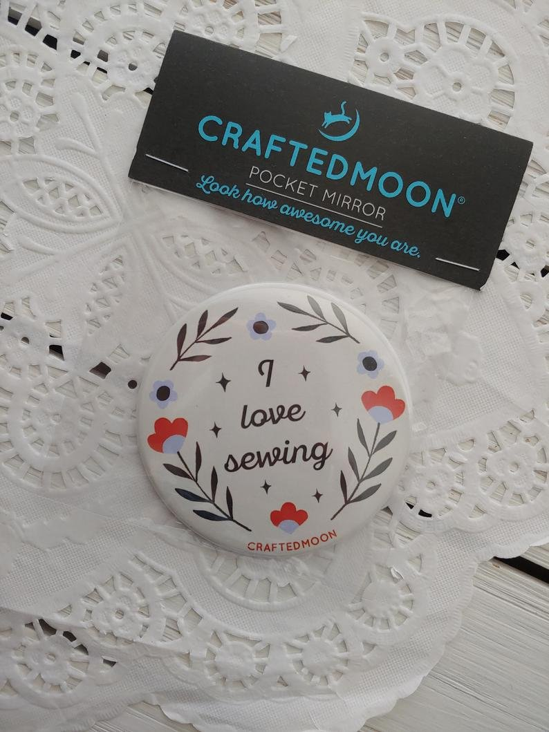 3 inch Pocket Mirror I Love Sewing