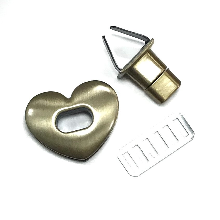 Heart Twist Lock- Antique Bronze