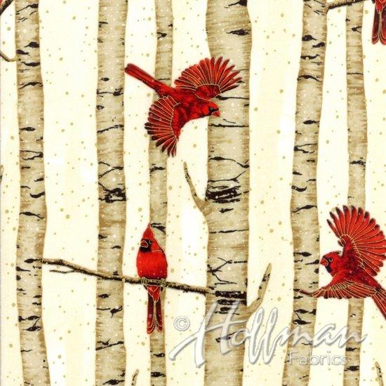 Woodsy Winter Birch Tree Cardinal Black/Silver