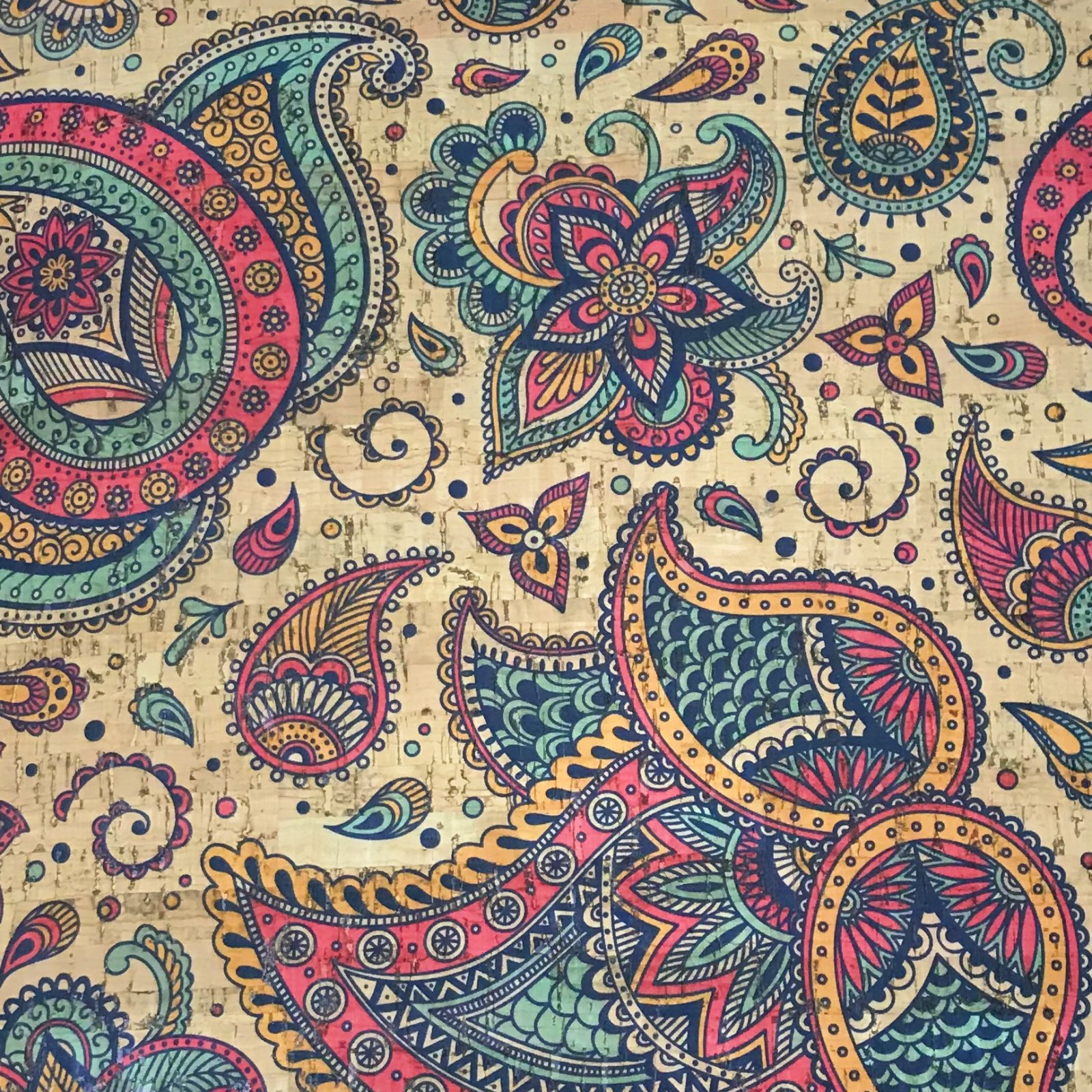Indian Paisley Cork Fabric