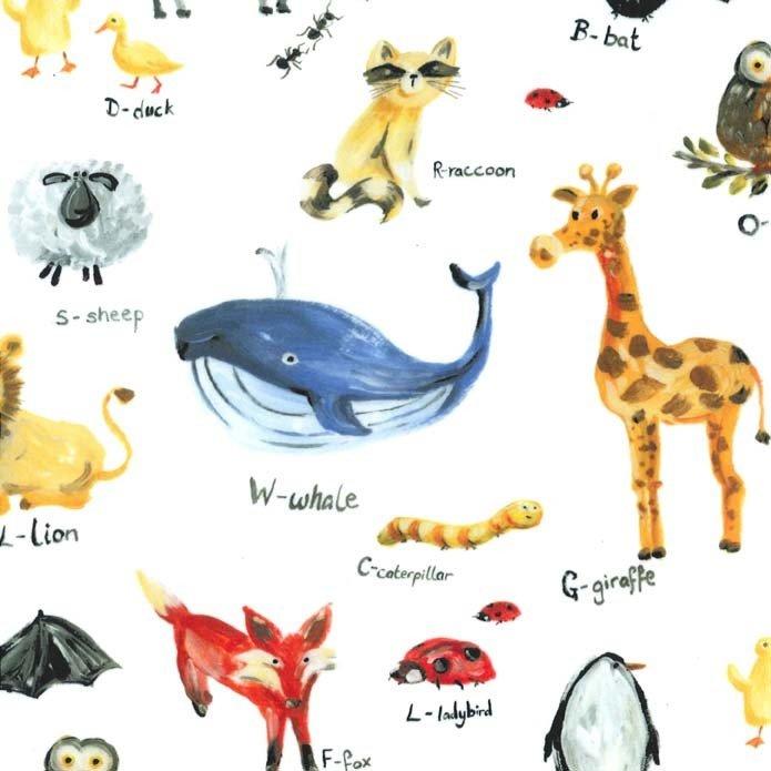 Animal Alphabet on Minky