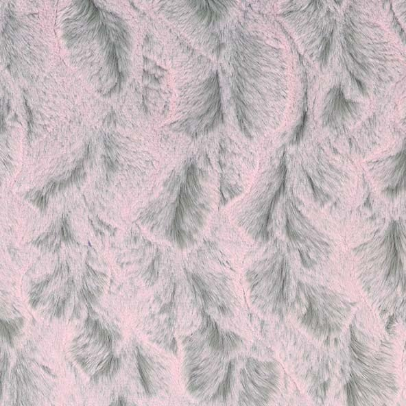 Tip Dye Bella- Faux Fur Snuggle Minky in Pink and Silver