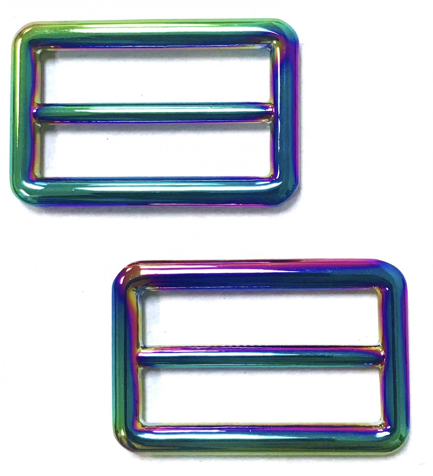 Iridescent Rectangle Strap Slides- Set of 2 - 1 1/2