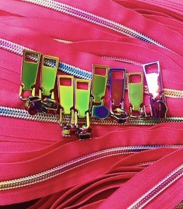 Iridescent Pink Zippers- 3 Yards