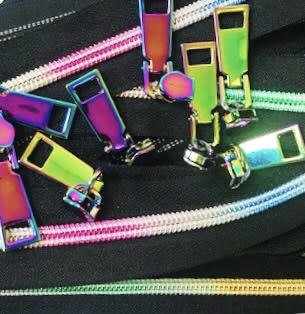 Iridescent Black Zippers- 3 Yards