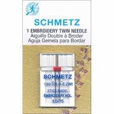 Schmetz Needles - Twin Embroidery - 3.0 mm - Sz 75/11