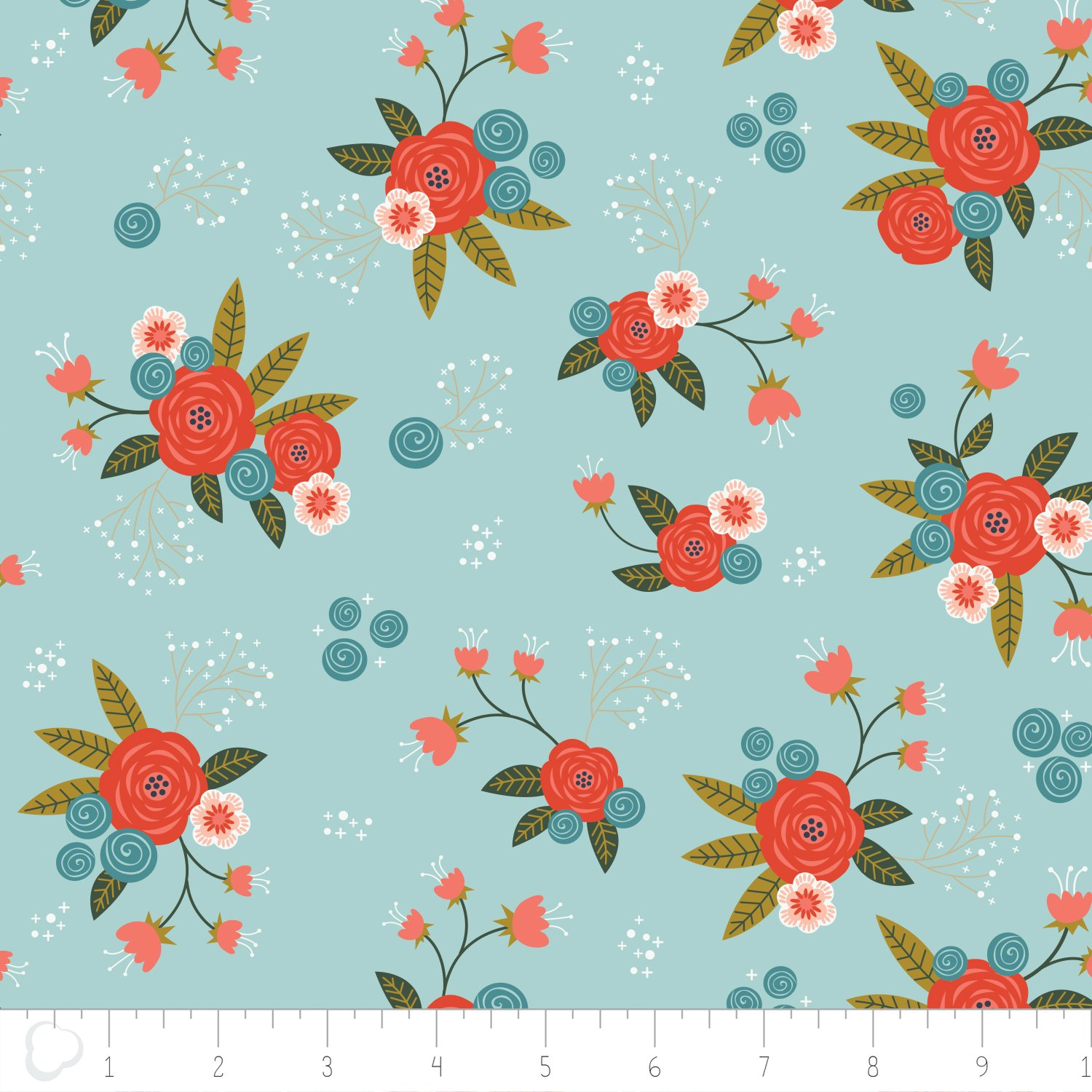 Happy Thoughts by Alissa Courter for Camelot Fabrics -  Floral in Aqua #2240801.02