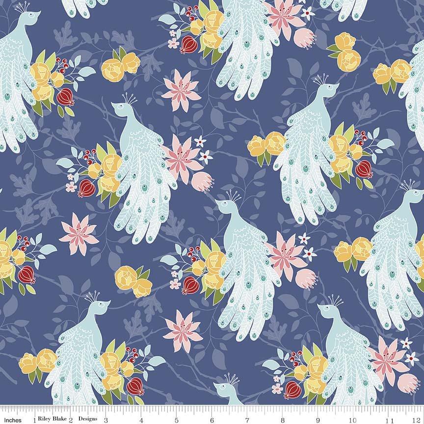 Into the Garden by Amanda Herring for Riley Blake Designs - Garden Peacock Navy