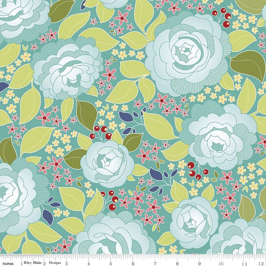 Into the Garden by Amanda Herring for Riley Blake Designs - Garden Main Teal