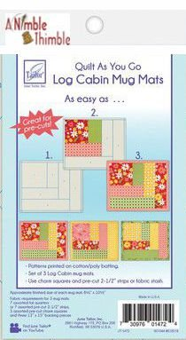 Log Cabin Mug Mats - Quilt As You Go