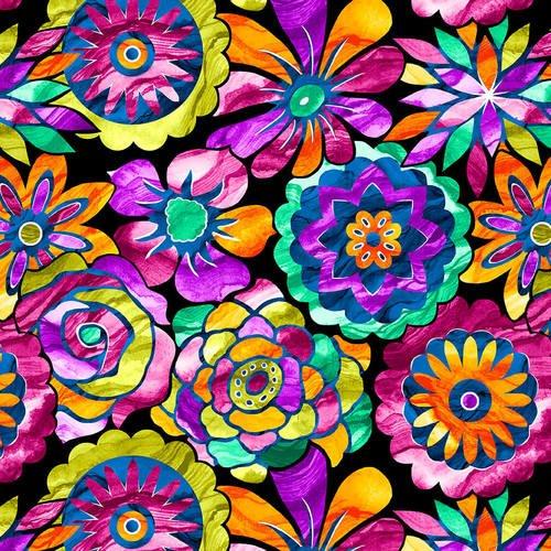 Aziza - medium colorful flowers