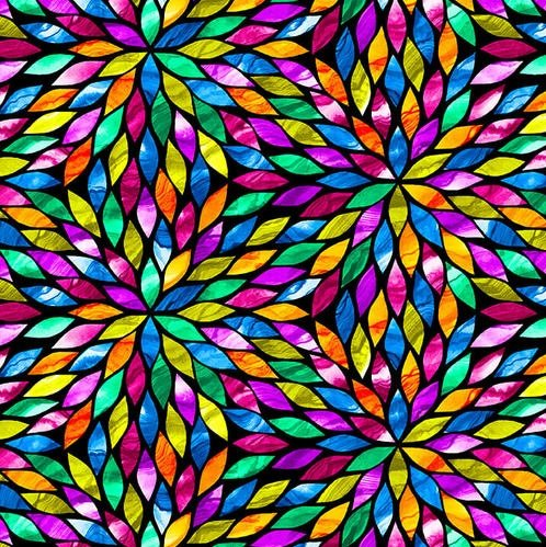 Aziza - multicolored flower pattern - stained glass effect