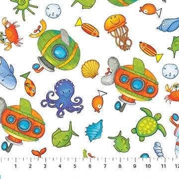 Baby Zoom Submarine - scattered sea creatures and submarines on white