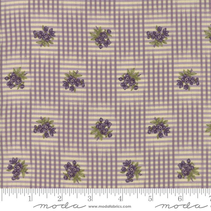 Sweet Violet - flowers inside checked pattern on violet