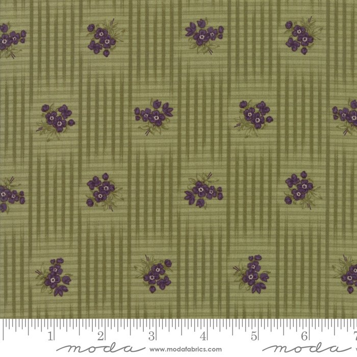 Sweet Violet - flowers inside checked pattern on leaf green