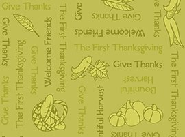 First Thanksgiving - Words about giving Thanks on green background