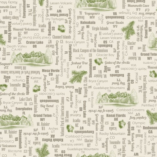 Our National Parks - park names on cream