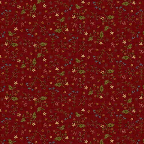 Farm to Market - star flowers on red