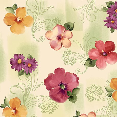 Sophia - spaced floral - light green