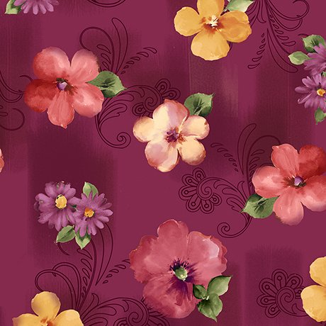 Sophia - spaced floral - cranberry