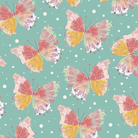 Confetti Blossoms - butterflies - dark seafoam
