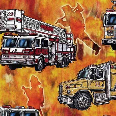 5 Alarm - fire trucks on flame background