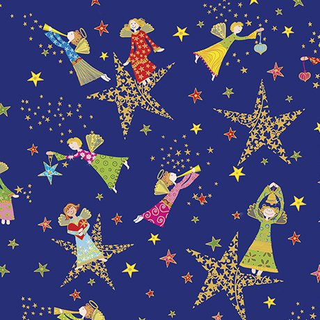 Holiday Minis - angels and stars on royal blue