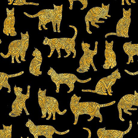 Purr-suasion - gold cat silhouettes on black