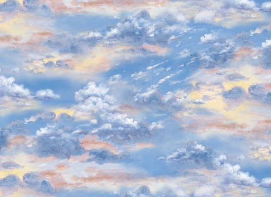 clouds with flashes of orange, yellow and white in a blue sky