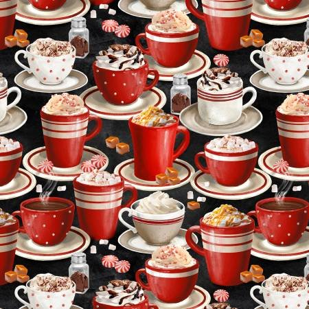 Time for Cocoa - packed mugs of cocoa on black