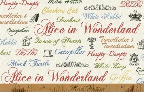 Adventures In Wonderland - wonderland words on off white