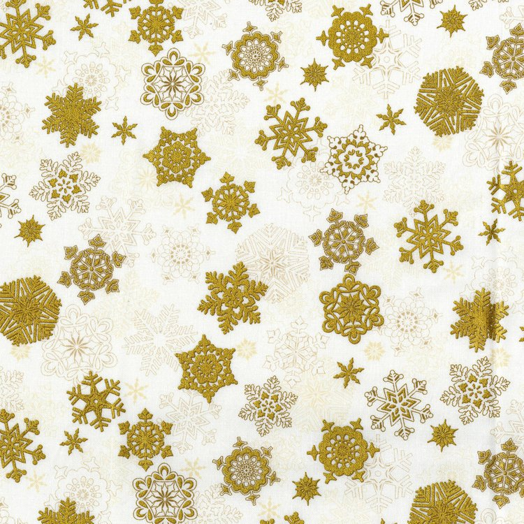 Merry Berry and Bright - gold snowflakes on cream