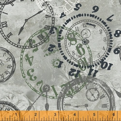 On Time - flannel - clocks on light tan