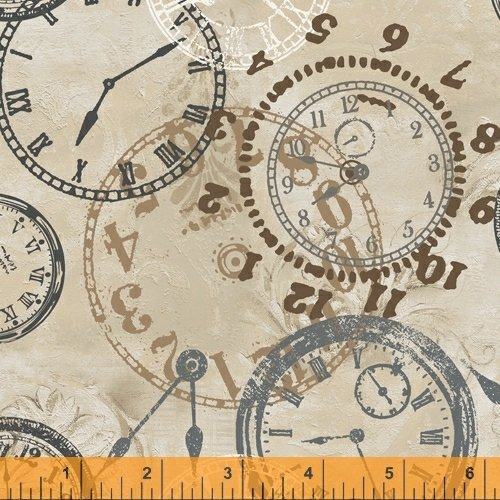 On Time - flannel - clocks on tan