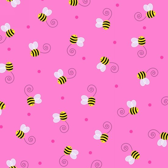 Spring Has Sprung - buzzing bees on pink