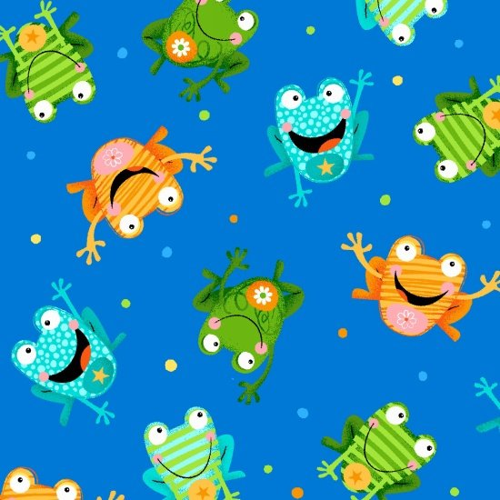 Toad-Ally Terrific - scattered colorful toads on blue
