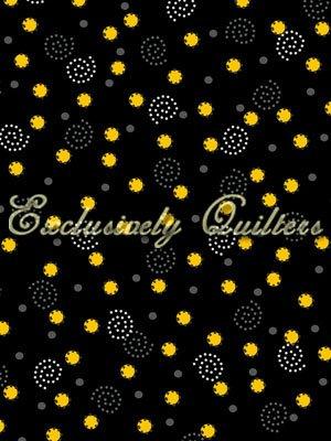 Sundance - yellow dots & white swirls on black