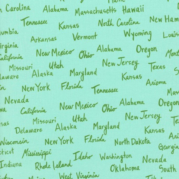Cotton & Steel - state names on green