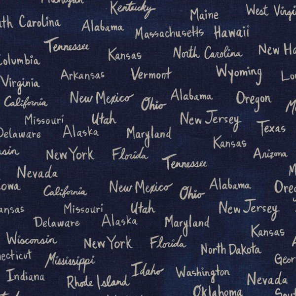 Cotton & Steel - canvas - state names on navy