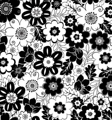 Fade to Black - black flowers on white