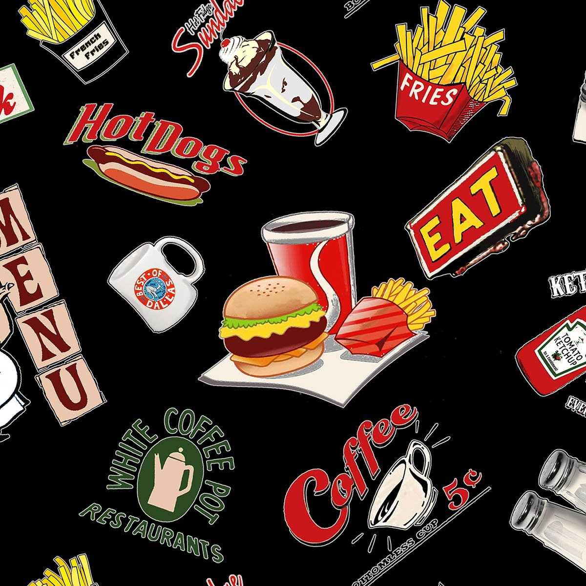 Open 24 Hours - diner logos