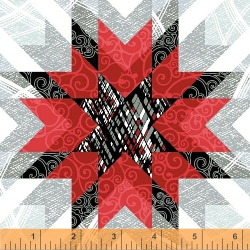 Starlight - red/black/gray quilt stars