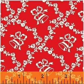 Storybook Christmas - bells pattern on red