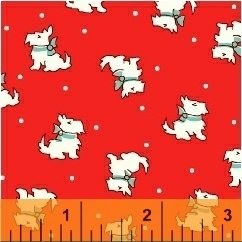 Storybook Christmas - white Scotty dogs on red