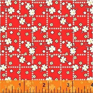 Storybook Flannel - small white flowers on red